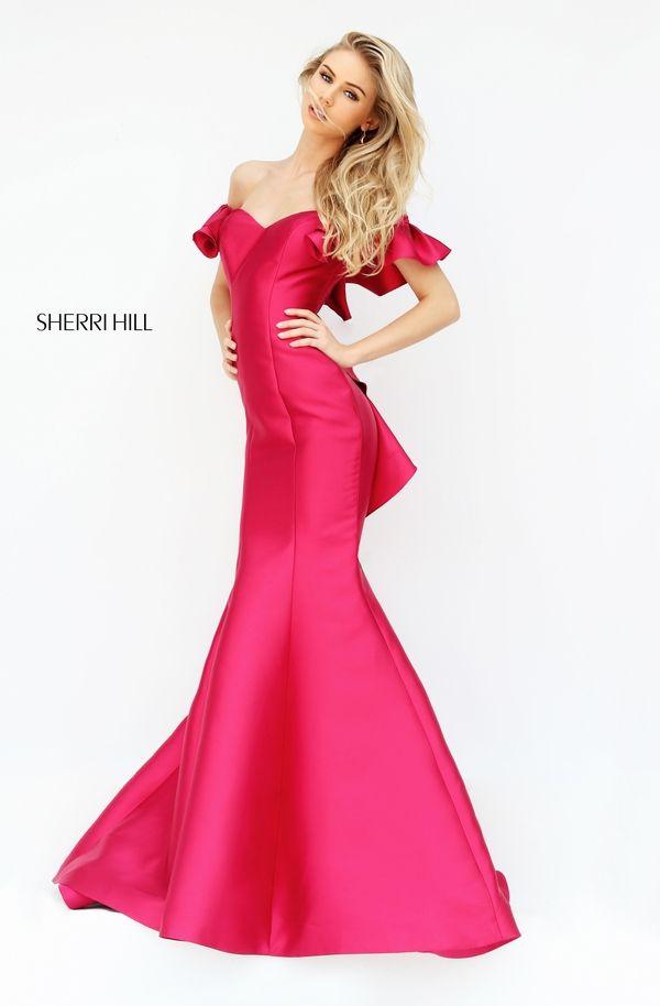 Sherri Hill 50576 Ruffled Mermaid Off Shoulder Formal Dress