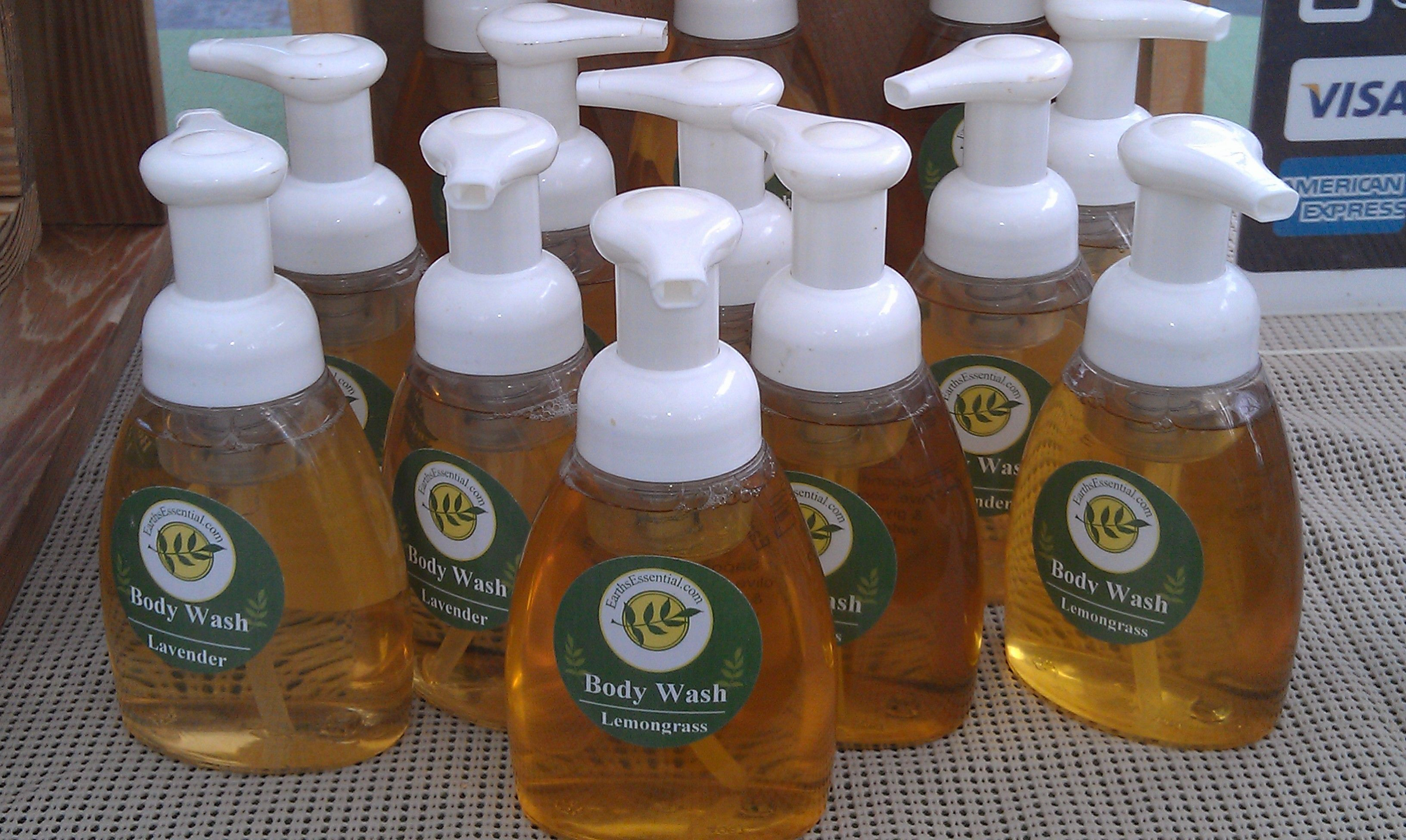 Natural body wash in foaming pump bottles. Natural body