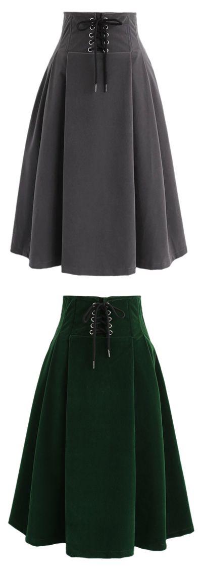 Lace Up For Your Love High Waist Velvet Skirt in Green/Grey ...