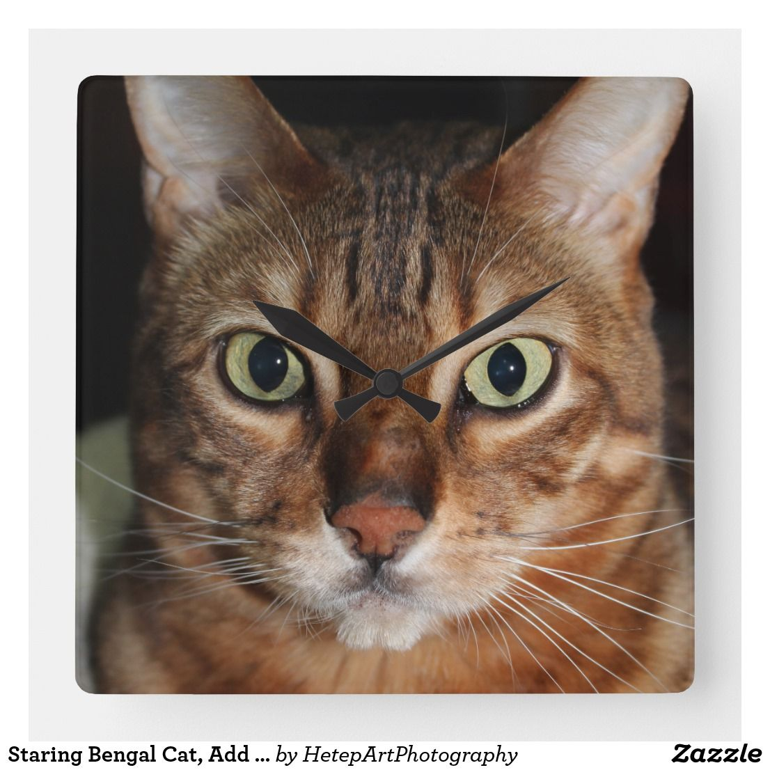 Staring Bengal Cat, Add Your Own Meme Square Wall Clock
