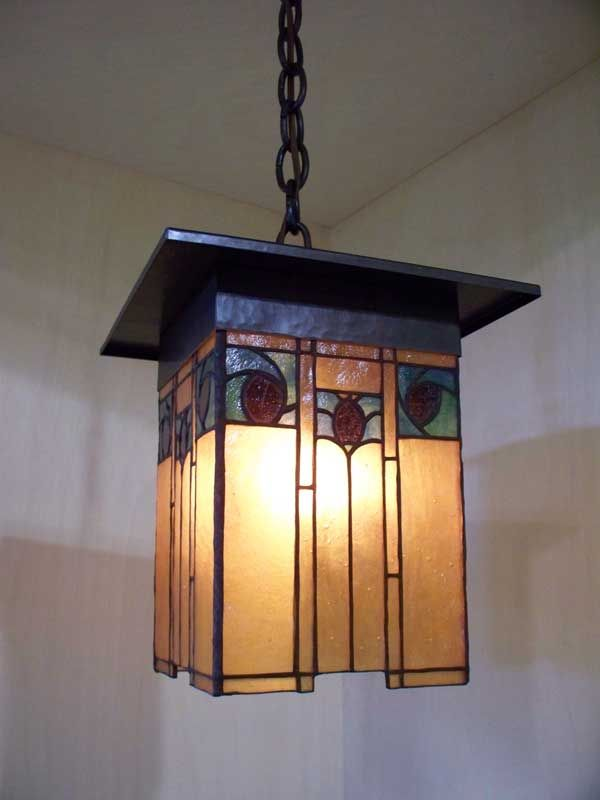 Arts And Crafts Style Lantern With Hammered Copper Art Gl