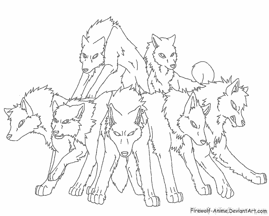 Pack of Wolves Lineart by FirewolfAnime Horse coloring