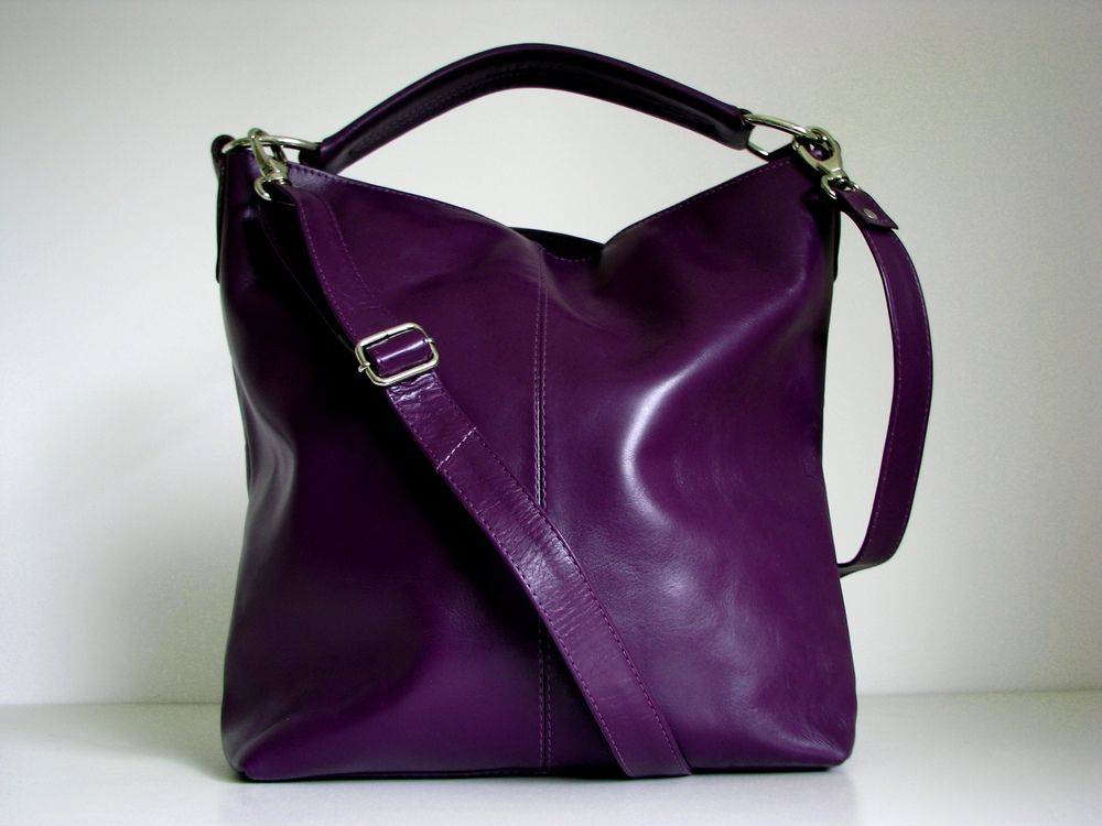 Leather Handbag Purple - Messenger | Purple leather, Leather ...