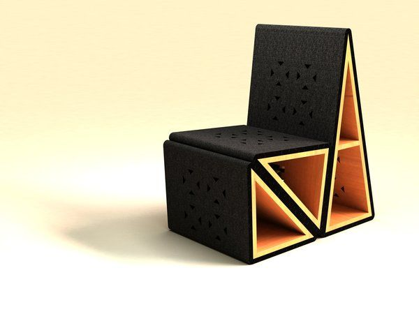 Triango Chair By Behance Lock Together Hollow Triangle Blocks Provide Additional Storage E In This