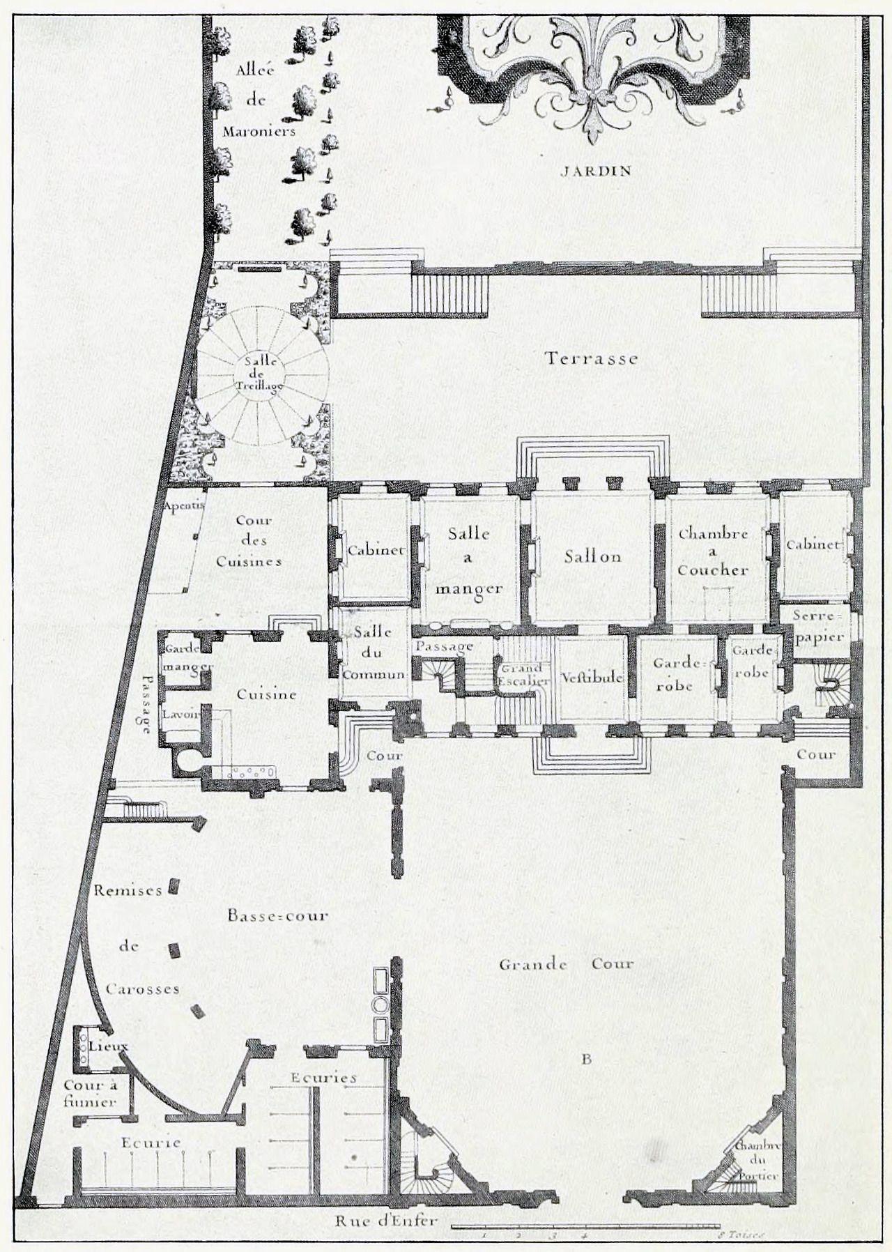 Le Blond\'s plan for a hôtel particulier on rue d\'Enfer, Paris ...