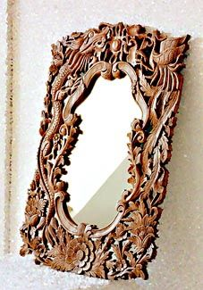 Hand Carved Teakwood Mirror With Frame
