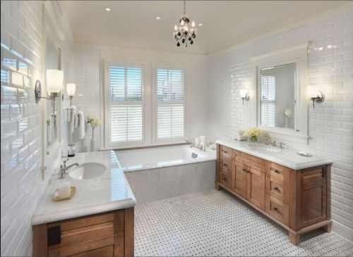 Solid Wood Double Bathroom Vanity White Marble Tops