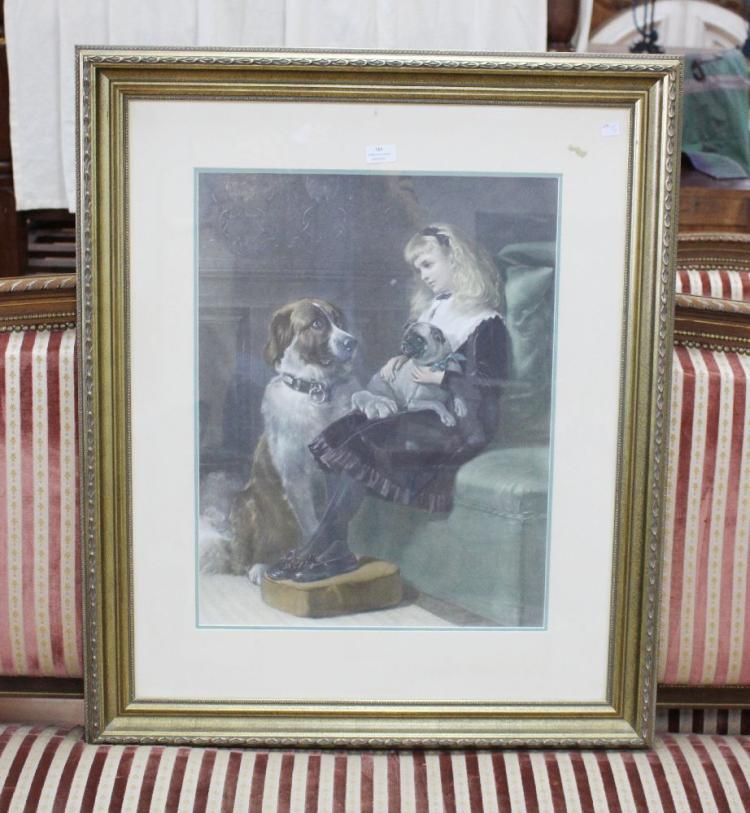 Picture of young girl with large dog, & Pug in lap, approx 6