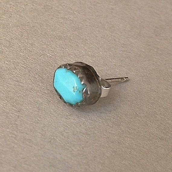 A Beautiful Old Pawn Vintage Native American Navajo Single Stud Earring featuring a Handcrafted Genuine Rich Blue Natural Sleeping Beauty Turquoise
