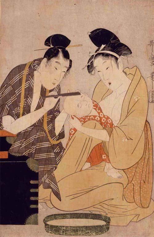 """""""【子ども浮世絵/Ukiyo-e】眠っている間に散髪。歌麿の作品です。Shaving the Head by Utamaro"""