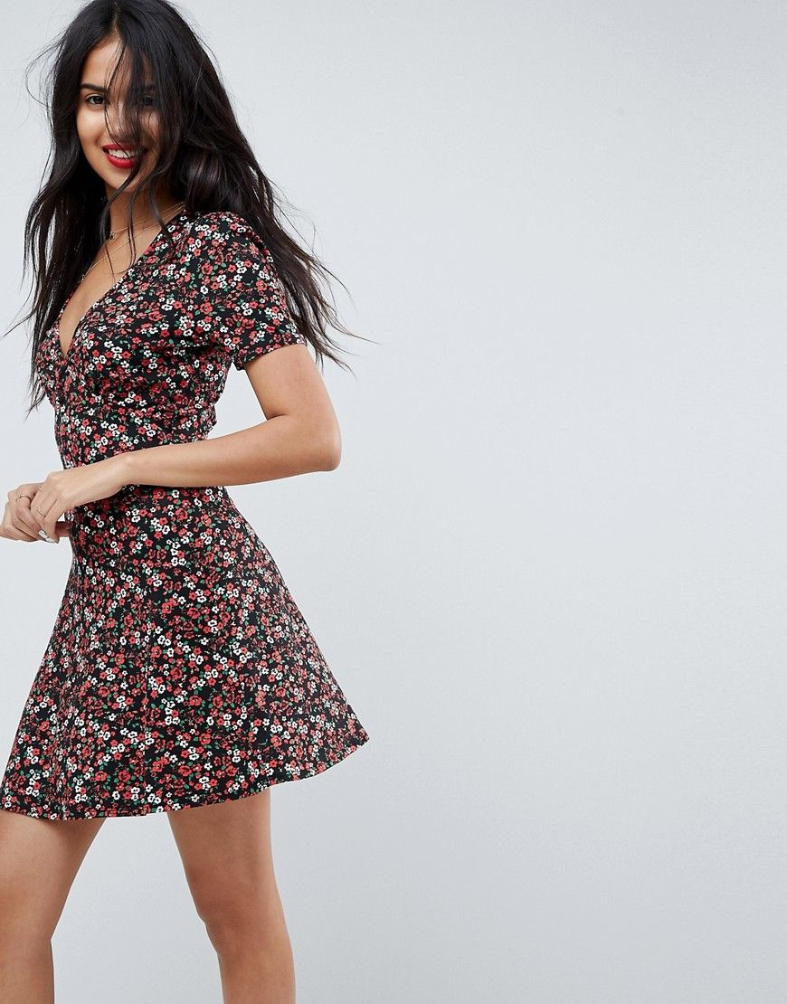 f273e9685259 ASOS Mini Tea Dress with V Neck and Button Detail in Mono Floral Print