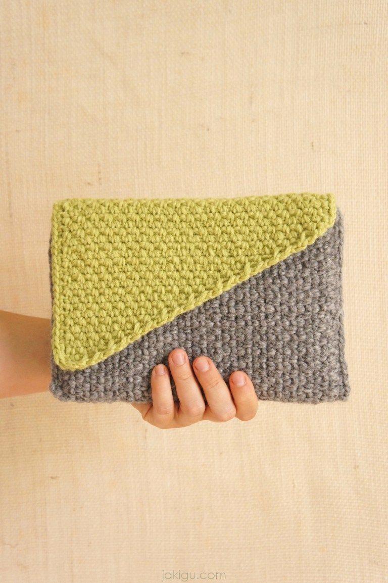 Crochet Clutch With Color Block Flap Crochet Pattern Crochet Clutch Crochet Patterns Crochet Clutch Pattern