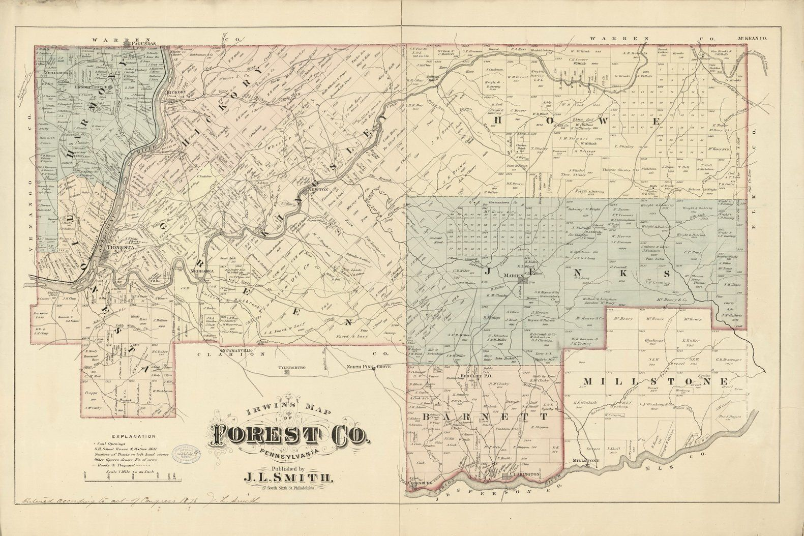 Forest county pennsylvania wall map with homeowner names