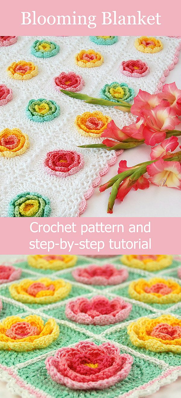 Flower granny square crochet blanket pattern and step-by ...