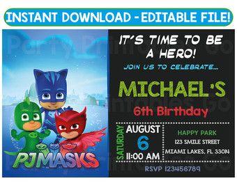 PJ Masks Invitation PJ Masks Birthday Party PJ Masks Birthday - Pj masks invitation template free