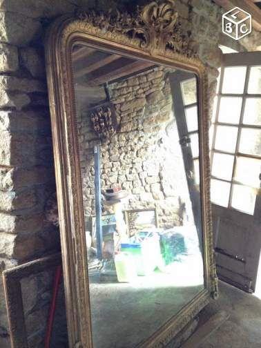 Miroir ancien grande taille 19ème Décoration Manche - leboncoinfr
