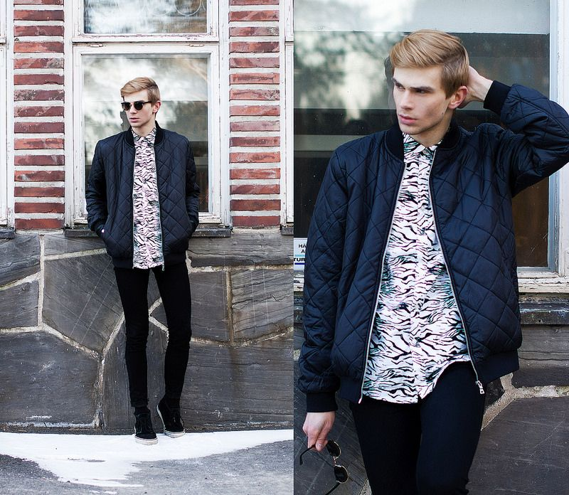 Men's Navy Quilted Bomber Jacket, White and Black Print Dress ...
