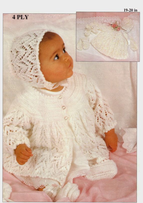 48edaa29d Baby 4 ply Matinee Jacket Hat Bootees and Mittens 19 - 20 ins - PDF ...
