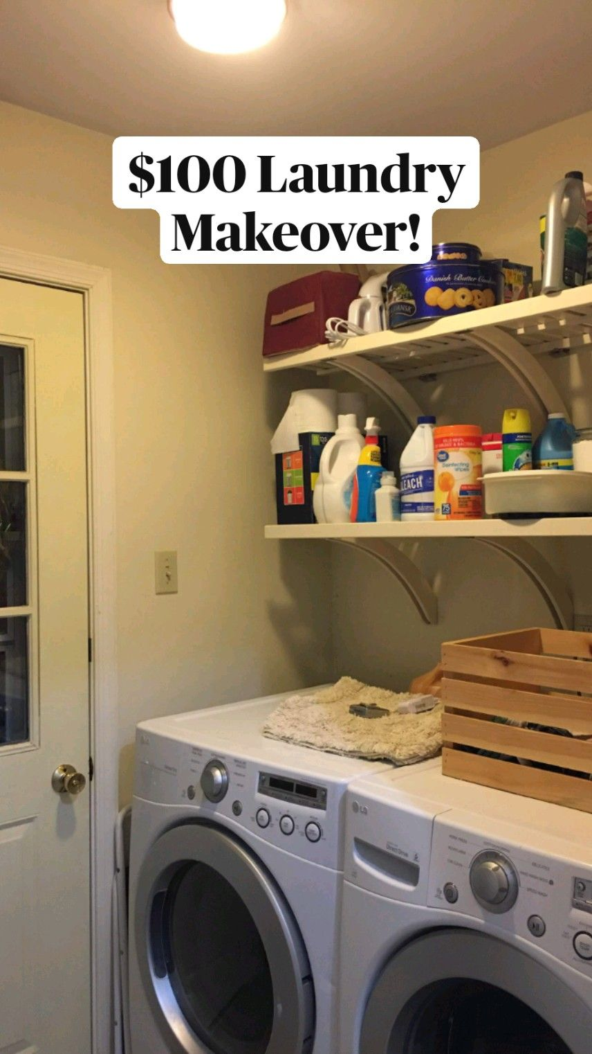 $100 Cottage Chic Laundry Makeover! Vintage Farmhouse Chic Laundry Update