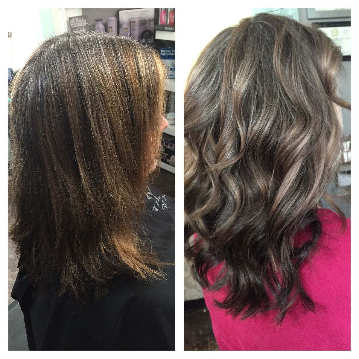 Before And After Ash Highlights With Ash Brown By Tayler Namanny Blending Gray Hair Ash Brown Hair With Highlights Gray Hair Highlights