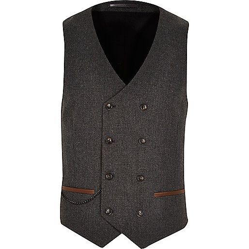 Brown smart double breasted vest - suits - sale - men