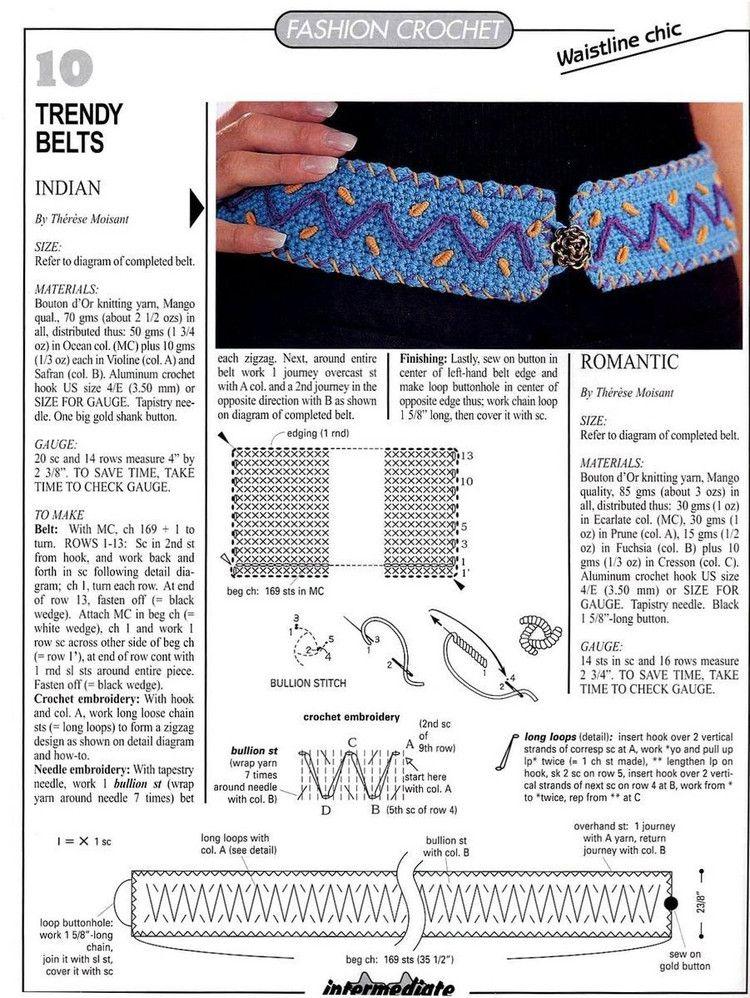 2 Cinturones de Crochet con Puntadas - Patrones Crochet | crochet ...