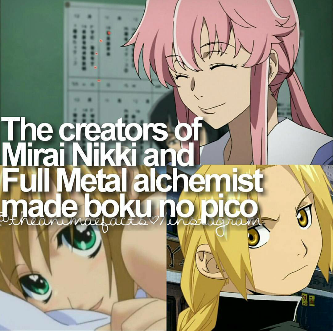 fact/ mirai nikki/ full metal/ boku no pico Anime memes