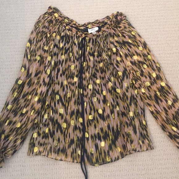 Milly blouse size 2, tied neck, keyhole, ruffled sleeves, gold dots, light weight, worn a few times, great condition Milly Tops Blouses