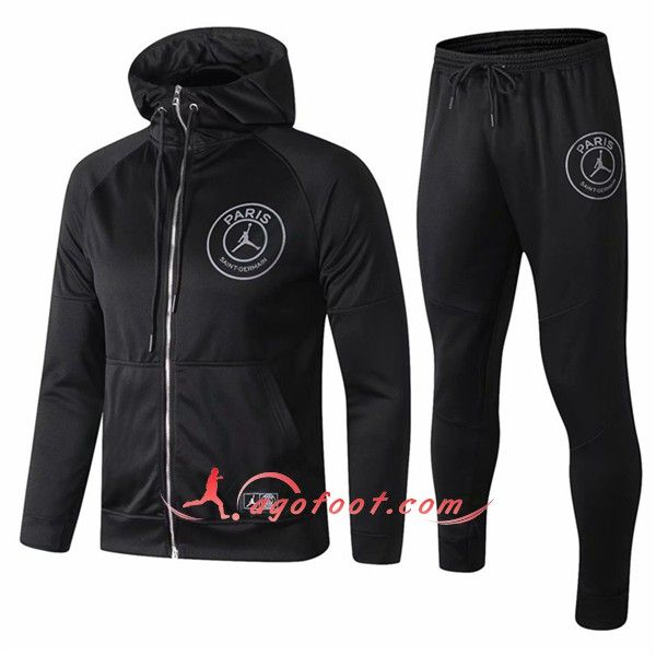 purchase cheap how to buy to buy Ensemble Sweat A Capuche Survetement Jordan PSG Noir Floqué ...