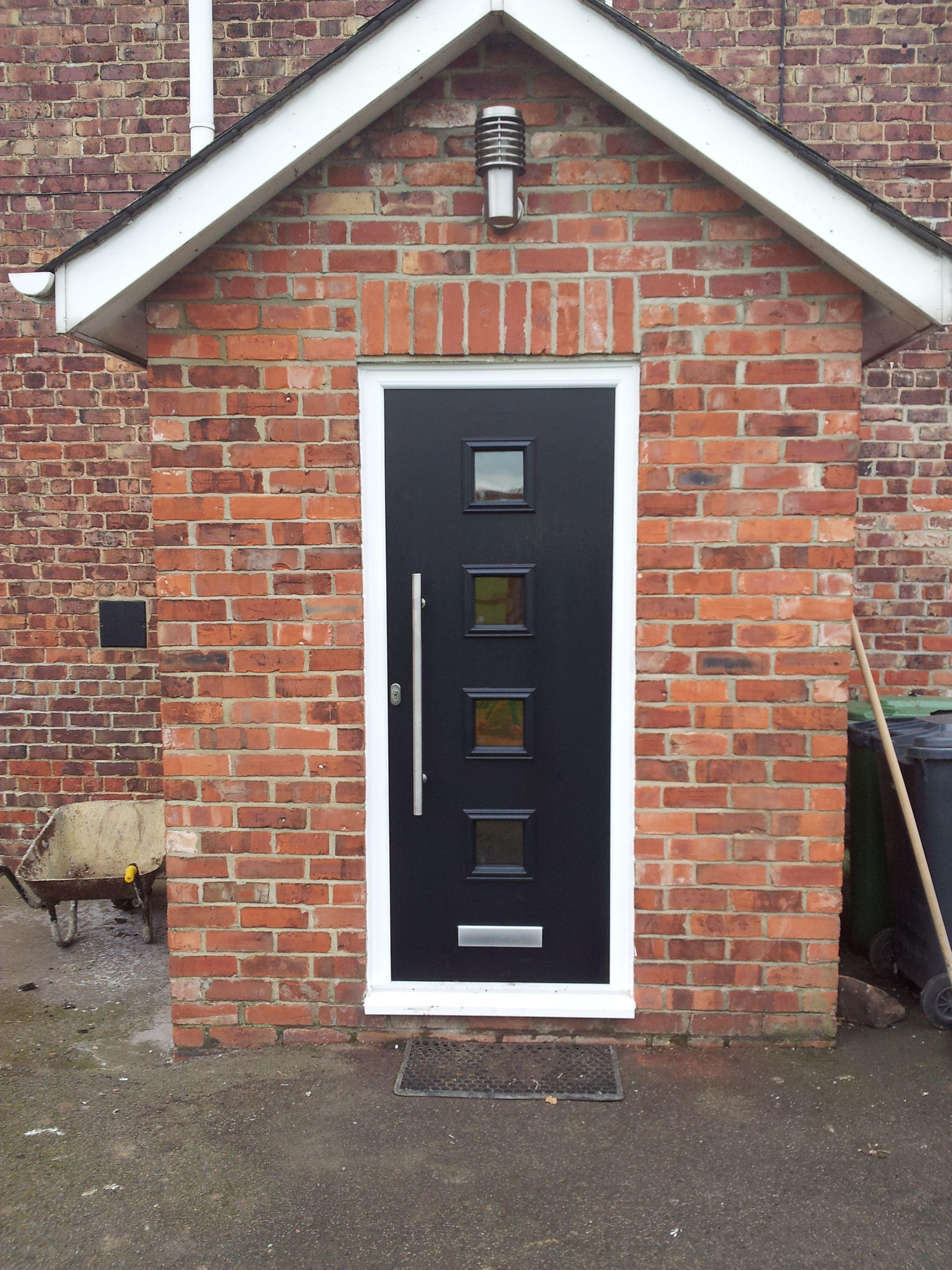 Black Milano Solidor Composite Front Door with ES3 Medium Pole Handle and Brushed Aluminium Letterbox Contemporary & Black Milano Solidor Composite Front Door with ES3 Medium Pole ...