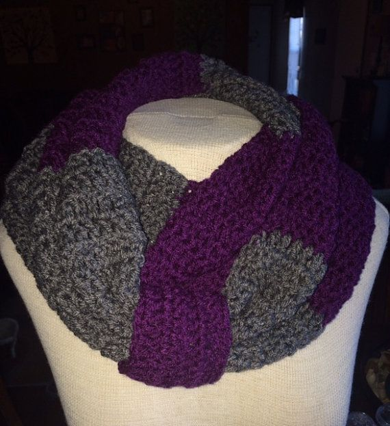 Purple And Gray Infinity Scarf With A Sinch