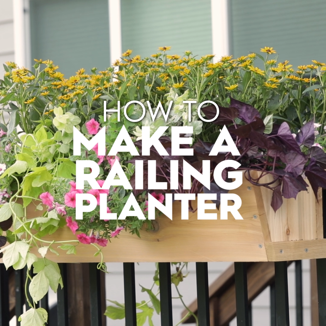 Looking for an easy, budget way to update your front porch? This custom DIY railing planter is your summertime solution for curb appeal that lasts all year. Follow along as we show you how to build and install a simple deck rail planter. #curbappeal #diycurbappeal #railingplanter #gardening #summer #bhg