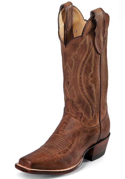 "Justin Women's 12"" Western Tan Distressed Vintage Goat Cowboy Boots - Tan Distressed $254.00"