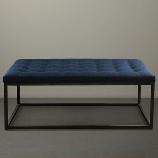 Renate Navy Linen Coffee Table Ottoman (.), Blue (Fabric)
