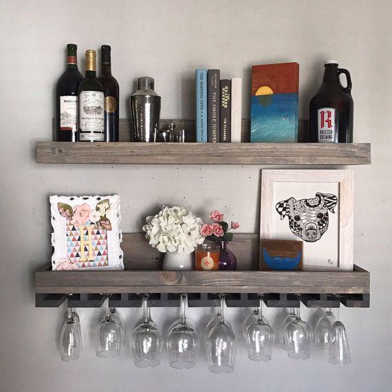 36 Long Rustic Wood Wine Rack Shelf Hanging Stemware Gl Holder Organizer Bar Floating Ledge Unique Grey