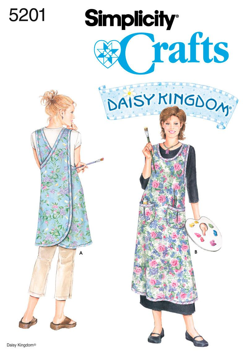 Simplicity : 5201 - Misses Wrap-Around Apron to size XL or 22-24. Nice apron, easy on, easy off, no strings that slip loose at the wrong moment, big pockets, good clothing coverage.
