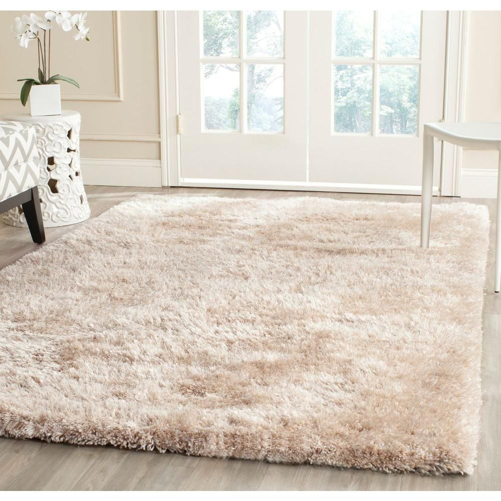 Safavieh South Beach Shag Latte 8 Ft X 10 Ft Area Rug Sbs562d 8 The Home Depot Shag Area Rug Area Rugs Rugs