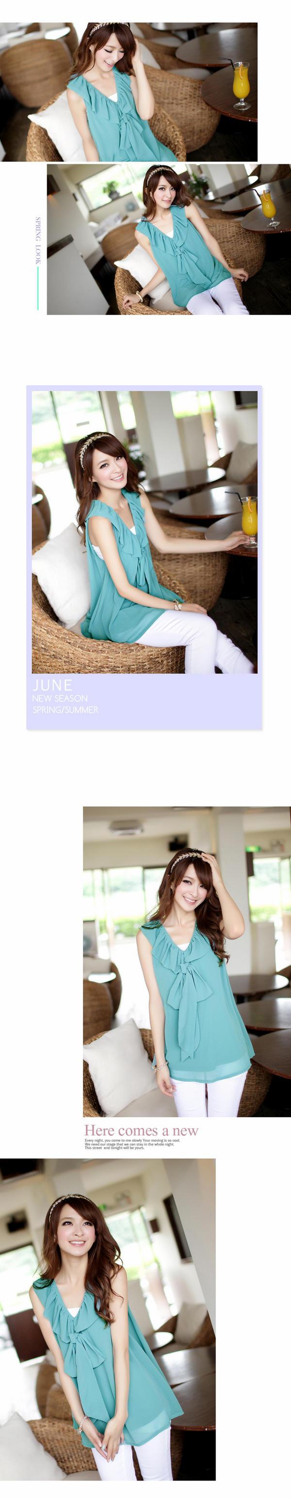 YESSTYLE: Tokyo Fashion- Sleeveless Ruffled Chiffon Top (Blue Green - One Size)