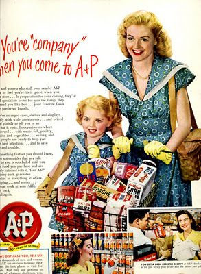 Vintage A & P ad   love that loaded up shopping cart
