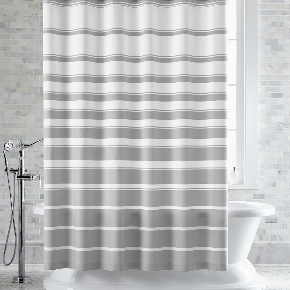 Hampton stripe grey shower curtain crate and barrel gray shower