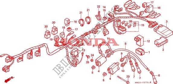 WIRE HARNESS (CB750F2) Honda microfiche motorcycle