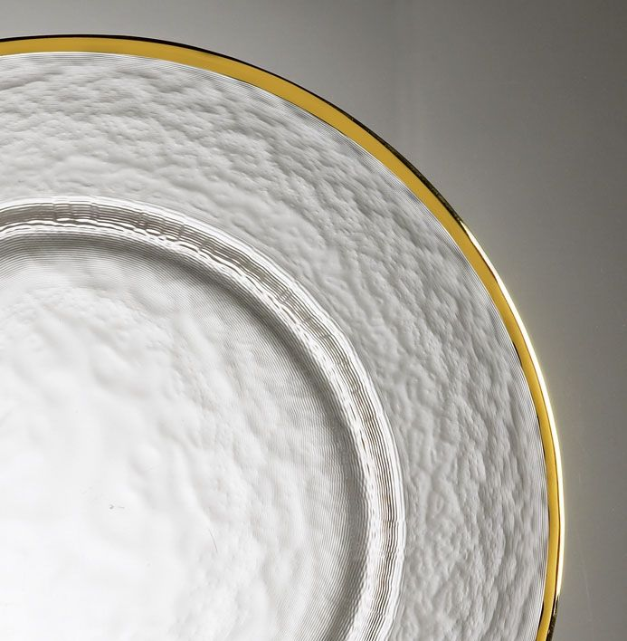 Plate Liner Glass/Gold Trim Round
