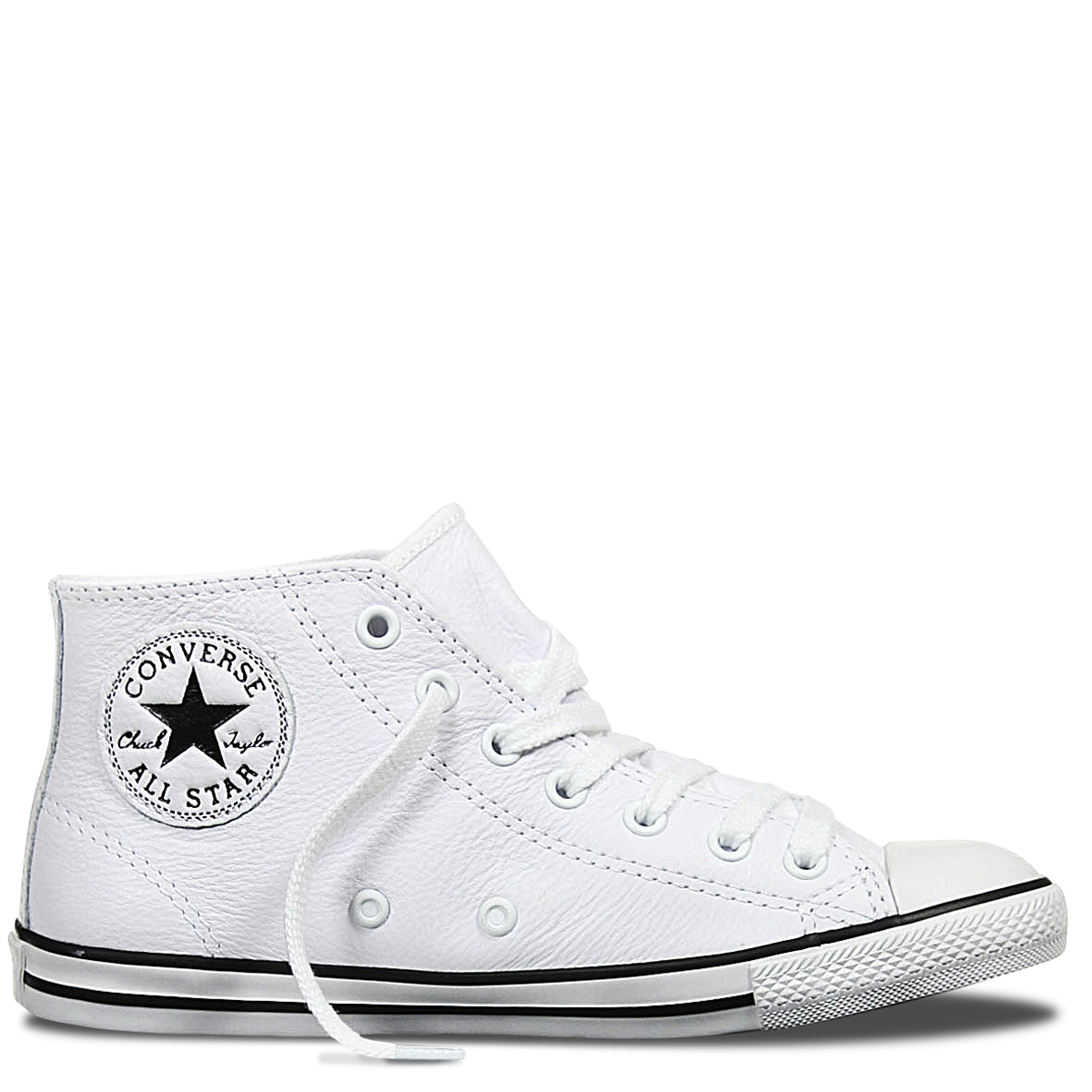 Chuck Taylor All Star Dainty Leather Mid White Converse Mid TopsWomens