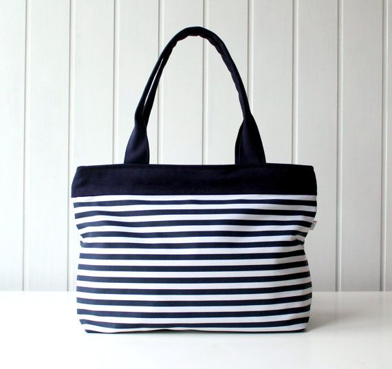 Can T Go Wrong With This Bag Hey Sailor Navy And White Stripes Tote Beach By Bayanhippo 35 00