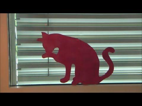 Katze am fenster basteln fensterdeko fensterbild deko sommer diy basteln mit papier - Fensterdeko sommer ...