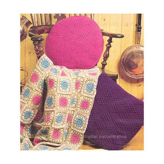 Crochet Pattern Granny Square Afghan Cushions Diamond Crochet ...