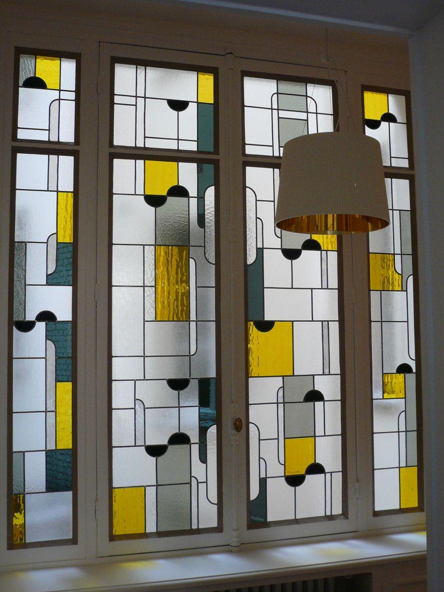 art deco ad vitraux pinterest vitraux vitrophanie et vitraux modernes. Black Bedroom Furniture Sets. Home Design Ideas