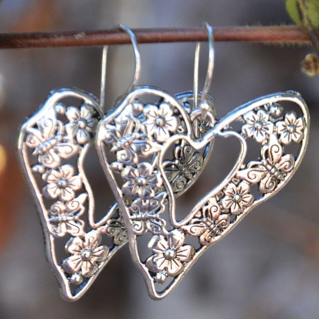 Shiny Zinc Flower and Butterfly Heart Earrings