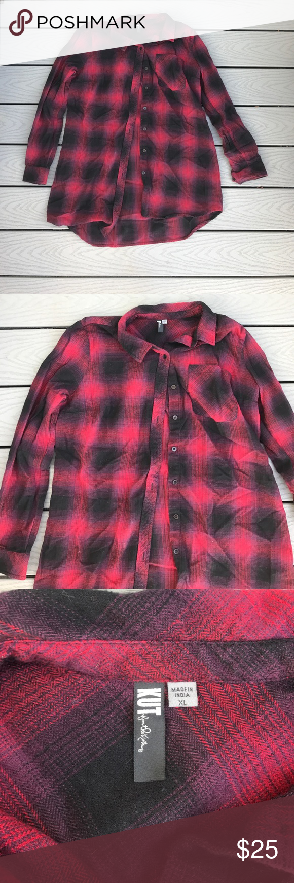 Red flannel shirts  NWOT Kut from the Kloth redublack flannel shirt