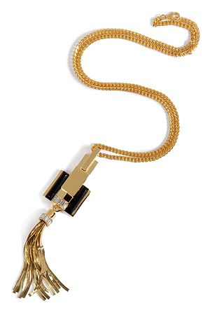 Emilio Pucci Necklace with Tassel Pendant in Gold/Jet Black